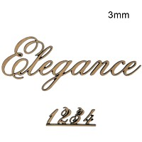 Letters and numbers Elegance, in various sizes Single fret-worked bronze plaque 3mm