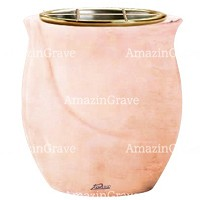 Flowers pot Gondola 19cm - 7,5in In Rosa Bellissimo marble, golden steel inner