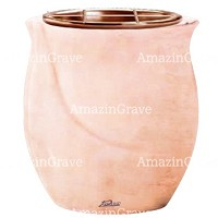 Flowers pot Gondola 19cm - 7,5in In Rosa Bellissimo marble, copper inner