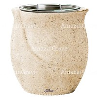 Flowers pot Gondola 19cm - 7,5in In Calizia marble, steel inner