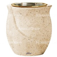 Flowers pot Gondola 19cm - 7,5in In Calizia marble, golden steel inner