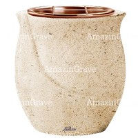 Flowers pot Gondola 19cm - 7,5in In Calizia marble, copper inner