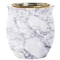 Flowers pot Gondola 19cm - 7,5in In Carrara marble, golden steel inner