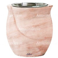 Flowers pot Gondola 19cm - 7,5in In Pink Portugal marble, steel inner