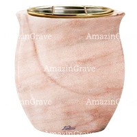 Flowers pot Gondola 19cm - 7,5in In Pink Portugal marble, golden steel inner