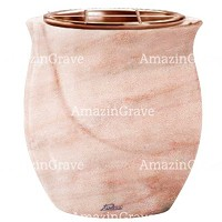 Flowers pot Gondola 19cm - 7,5in In Pink Portugal marble, copper inner