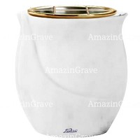 Flowers pot Gondola 19cm - 7,5in In Sivec marble, golden steel inner