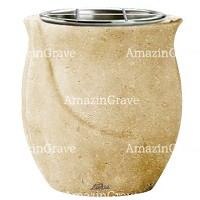 Flowers pot Gondola 19cm - 7,5in In Trani marble, steel inner