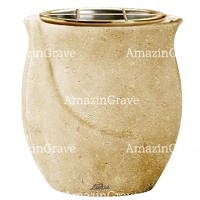 Flowers pot Gondola 19cm - 7,5in In Trani marble, golden steel inner