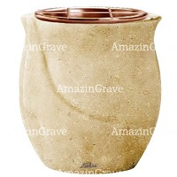 Flowers pot Gondola 19cm - 7,5in In Trani marble, copper inner