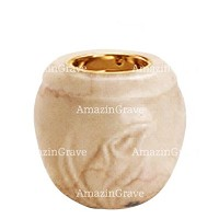 Base for grave lamp Calla 10cm - 4in In Botticino marble, with recessed golden ferrule