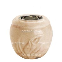 Base for grave lamp Calla 10cm - 4in In Botticino marble, with recessed nickel plated ferrule