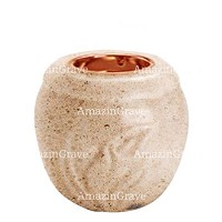 Base for grave lamp Calla 10cm - 4in In Calizia marble, with recessed copper ferrule