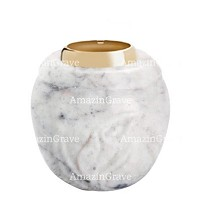 Base for grave lamp Calla 10cm - 4in In Carrara marble, with golden steel ferrule