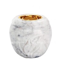 Base for grave lamp Calla 10cm - 4in In Carrara marble, with recessed golden ferrule