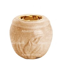 Base for grave lamp Calla 10cm - 4in In Travertino marble, with recessed golden ferrule