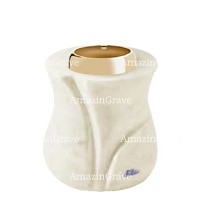 Base for grave lamp Charme 10cm - 4in In Pure white marble, with golden steel ferrule