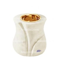 Base for grave lamp Charme 10cm - 4in In Pure white marble, with recessed golden ferrule