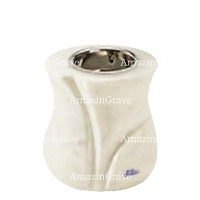 Base for grave lamp Charme 10cm - 4in In Pure white marble, with recessed nickel plated ferrule