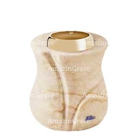 Base for grave lamp Charme 10cm - 4in In Botticino marble, with golden steel ferrule
