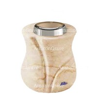 Base for grave lamp Charme 10cm - 4in In Botticino marble, with steel ferrule