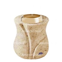 Base for grave lamp Charme 10cm - 4in In Calizia marble, with golden steel ferrule