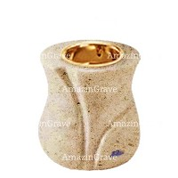 Base for grave lamp Charme 10cm - 4in In Calizia marble, with recessed golden ferrule