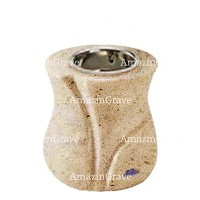 Base for grave lamp Charme 10cm - 4in In Calizia marble, with recessed nickel plated ferrule