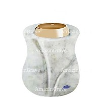 Base for grave lamp Charme 10cm - 4in In Carrara marble, with golden steel ferrule