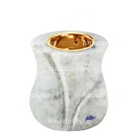 Base for grave lamp Charme 10cm - 4in In Carrara marble, with recessed golden ferrule