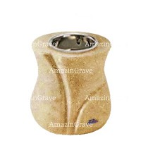 Base for grave lamp Charme 10cm - 4in In Trani marble, with recessed nickel plated ferrule