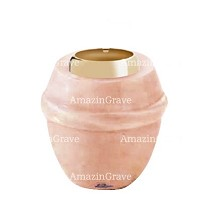 Base for grave lamp Chordé 10cm - 4in In Rosa Bellissimo marble, with golden steel ferrule
