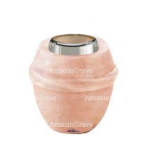Base for grave lamp Chordé 10cm - 4in In Rosa Bellissimo marble, with steel ferrule