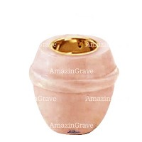 Base for grave lamp Chordé 10cm - 4in In Rosa Bellissimo marble, with recessed golden ferrule