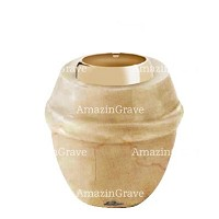 Base for grave lamp Chordé 10cm - 4in In Botticino marble, with golden steel ferrule