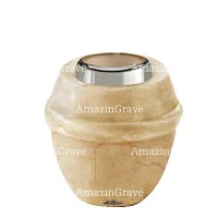 Base for grave lamp Chordé 10cm - 4in In Botticino marble, with steel ferrule