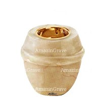 Base for grave lamp Chordé 10cm - 4in In Botticino marble, with recessed golden ferrule