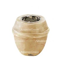 Base for grave lamp Chordé 10cm - 4in In Botticino marble, with recessed copper ferrule