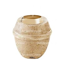 Base for grave lamp Chordé 10cm - 4in In Calizia marble, with golden steel ferrule