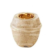 Base for grave lamp Chordé 10cm - 4in In Calizia marble, with recessed golden ferrule