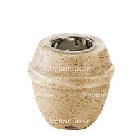 Base for grave lamp Chordé 10cm - 4in In Calizia marble, with recessed nickel plated ferrule