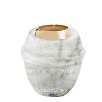 Base for grave lamp Chordé 10cm - 4in In Carrara marble, with golden steel ferrule
