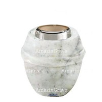 Base for grave lamp Chordé 10cm - 4in In Carrara marble, with steel ferrule