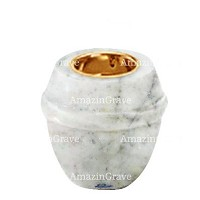 Base for grave lamp Chordé 10cm - 4in In Carrara marble, with recessed golden ferrule