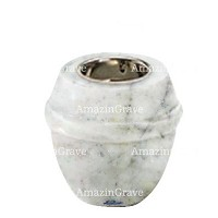 Base for grave lamp Chordé 10cm - 4in In Carrara marble, with recessed nickel plated ferrule