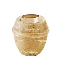 Base for grave lamp Chordé 10cm - 4in In Trani marble, with golden steel ferrule