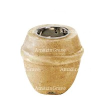 Base for grave lamp Chordé 10cm - 4in In Trani marble, with recessed nickel plated ferrule