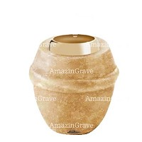 Base for grave lamp Chordé 10cm - 4in In Travertino marble, with golden steel ferrule