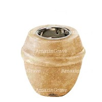 Base for grave lamp Chordé 10cm - 4in In Travertino marble, with recessed nickel plated ferrule