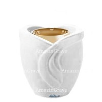 Base for grave lamp Gres 10cm - 4in In Pure white marble, with golden steel ferrule